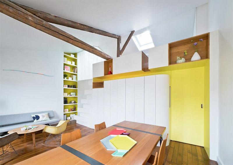 Apartamento branco e amarelo