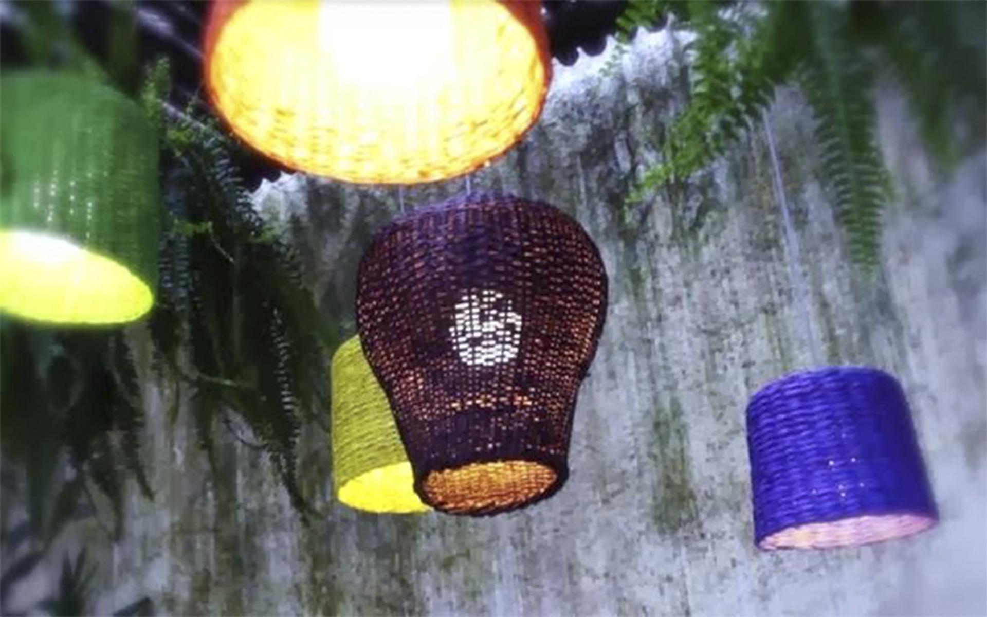 Luminária feita com cesto