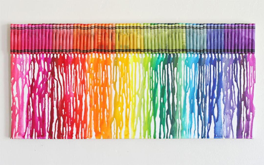 Quadro arco-íris com giz de cera