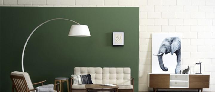Sala de estar com parede verde