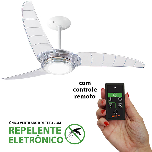 Ventiladores e luminárias Spirit - Blog Myspirit - Ventilador de Teto Spirit 303 Cristal LED Repelente Controle Remoto - saúde