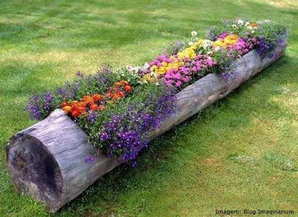 Ventiladores e luminárias Spirit - Blog Myspirit - tronco de árvore com flores - jardins criativos
