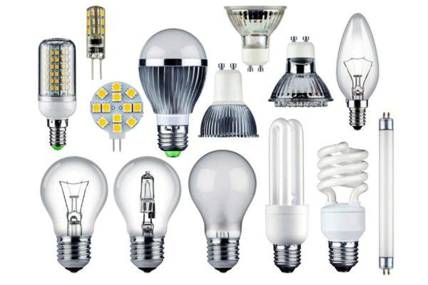 Diferentes tipos de lâmpadas