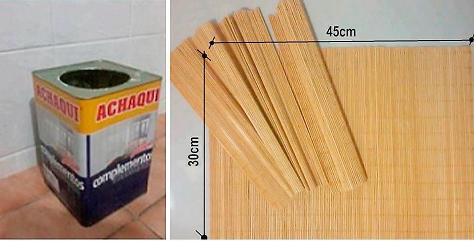 Material usado para fazer cachepot com lata de tinta