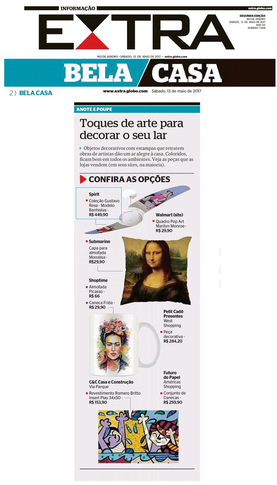 SPIRIT na mídia sobre produtos com estampa de obras de artistas famosos