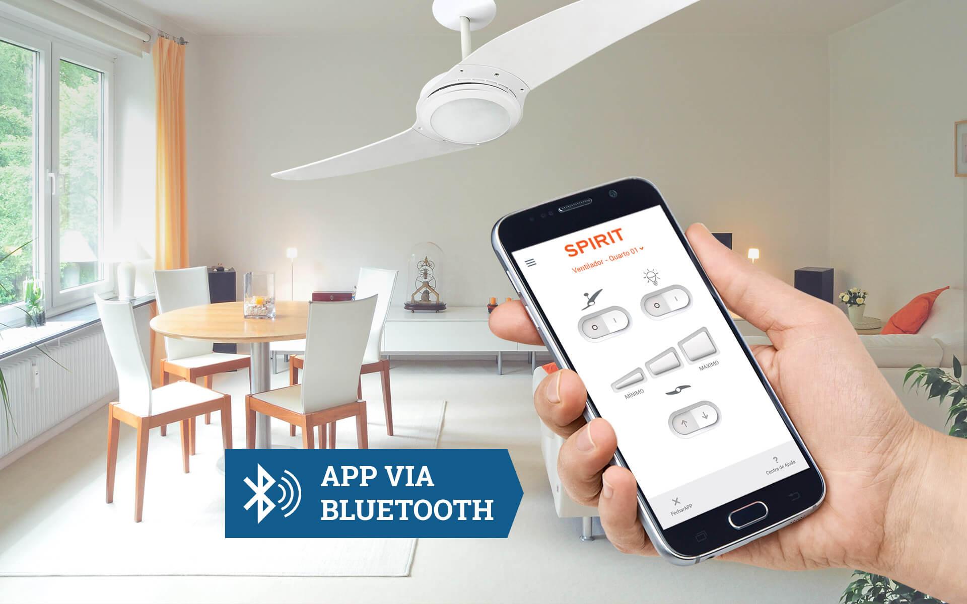 Ventilador de teto controlado por smartphone