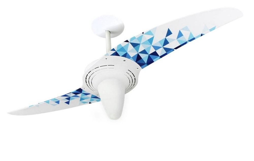 Ventilador de teto Spirit - Blog Myspirit - ventilador de teto Spirit Triângulos Azuis - como fazer estojo escolar de tecido