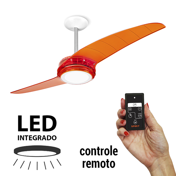 Ventiladores e luminárias Spirit - blog Myspirit - Ventilador de Teto Spirit 203 Tangerina LED Controle Remoto - controle remoto do ventilador de teto