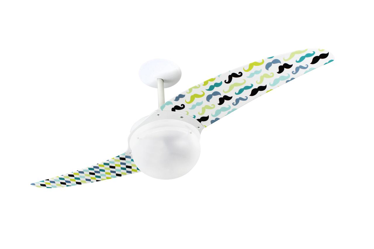Ventilador de teto Spirit - ventilador de teto Spirit Urbano Moustaches com lustre globo - função exaustão do ventilador de teto - ventilador de teto