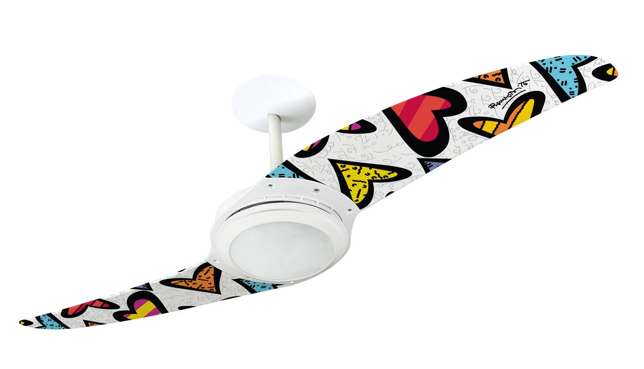 Ventilador de teto Spirit - Ventilador de Teto Spirit 203 Romero Britto Hearts com Lustre Flat - função exaustão do ventilador de teto - ventilador de teto