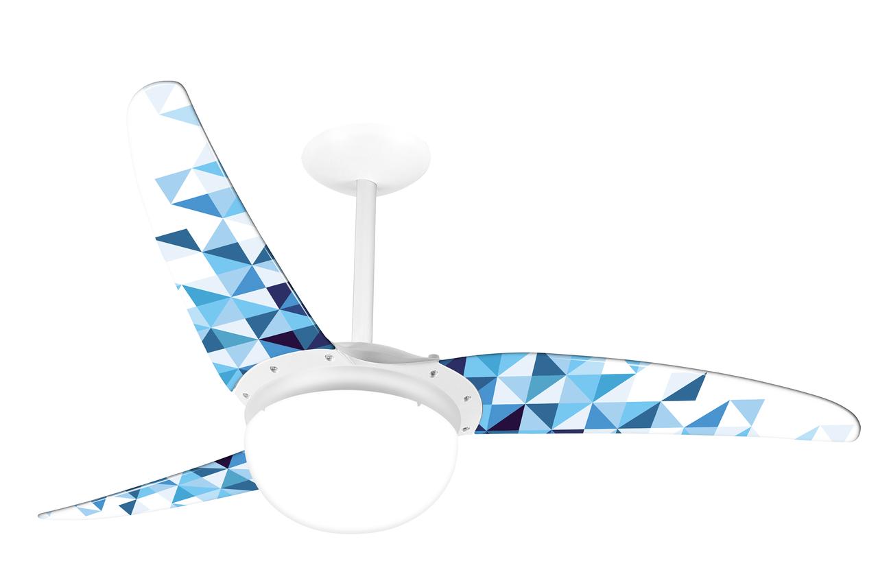 Ventilador de teto Spirit - Ventilador de Teto Spirit 302 Geométrico Triângulos Azuis com Lustre Globo - função exaustão do ventilador de teto - ventilador de teto