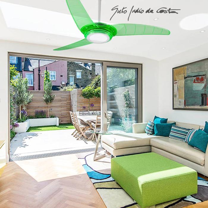 Ventiladores e luminárias Spirit - Blog Myspirit - decoração de primavera - ventilador de teto Spirit verde neon - decorar a casa na primavera