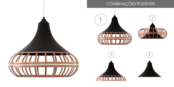Ventiladores e luminárias Spirit - Blog Myspirit - Luminária Pendente Spirit Combine 1440 Preto/Bronze/Bronze - luminária pendente