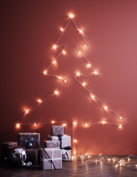 ventilador de teto Spirit - Blog Myspirit - árvore de Natal feita com pisca-pisca - ideias para decoração de Natal