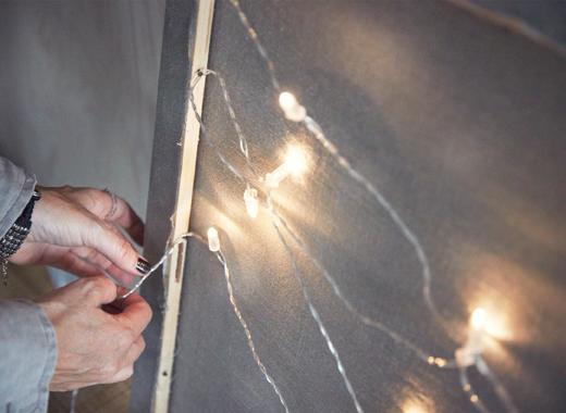 ventilador de teto Spirit - Blog Myspirit - quadro com pisca-pisca imitando um céu estrelado - ideias para decoração de Natal
