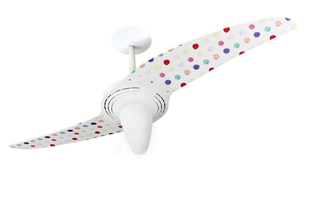 ventilador de teto Spirit - Blog Myspirit - Ventilador de Teto Spirit 201 Feminina Bolinhas Coloridas L53 Lustre Cônico - ideias para decoração de Natal