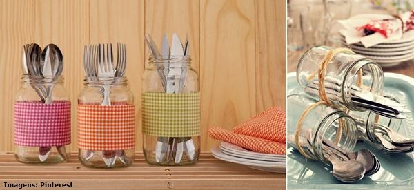 Ventiladores e luminárias Spirit - Blog Myspirit - porta-talheres de vidro de geleia - decoração de ano novo simples e barata