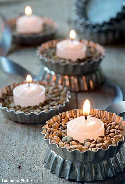 Ventiladores e luminárias Spirit - Blog Myspirit - porta-velas feito com lentilhas - decoração de ano novo simples e barata