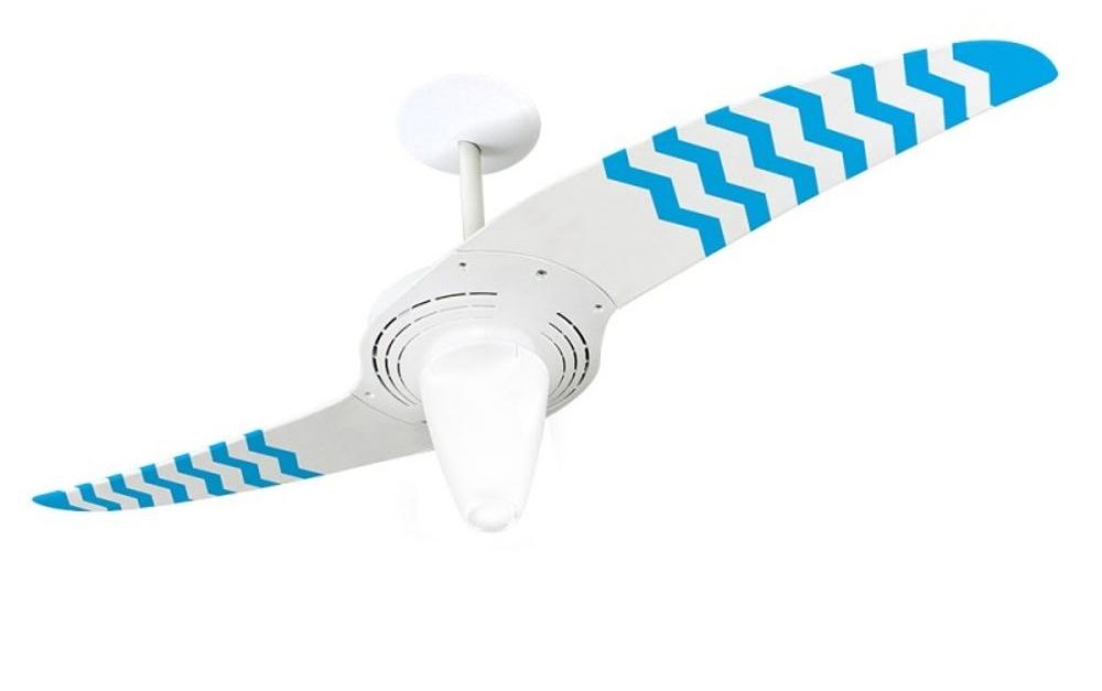 ventilador de teto Spirit - Blog Myspirit - Ventilador de Teto Spirit 201 Listrado Zigzag AzuL WWR14 Lustre Cônico - como refrescar o quarto com ventilador de teto