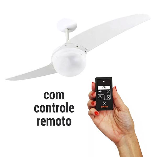 Ventiladores e luminárias Spirit - Blog Myspirit - Ventilador de Teto Spirit 202 Branco Lustre Globo Controle Remoto - como refrescar o quarto com ventilador de teto