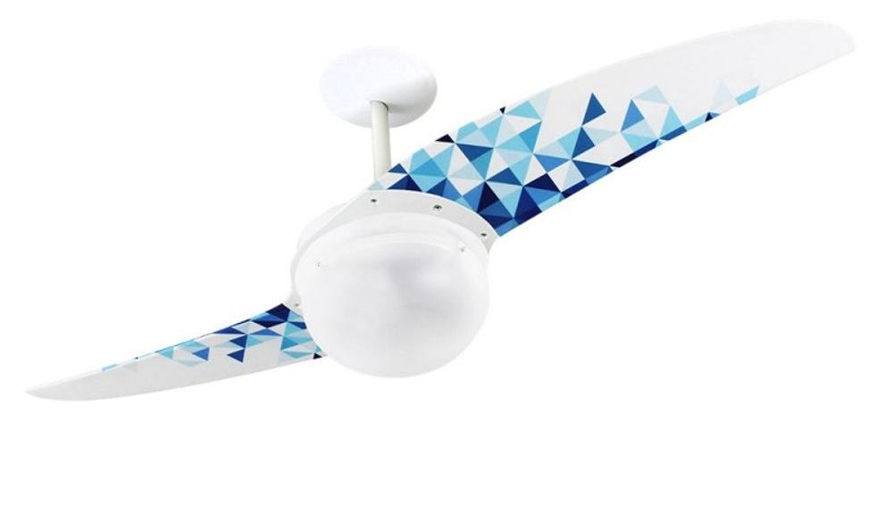 ventilador de teto Spirit - Blog Myspirit - Ventilador de Teto Spirit 202 Geométrico Triângulos Azuis L7 Lustre Globo - ventilador de teto para quarto de visitas - quarto de visitas