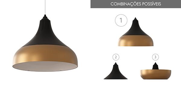 Ventiladores e luminárias Spirit - Blog Myspirit - Luminária Pendente Spirit Combine 1300 Preta Dourada - Combine