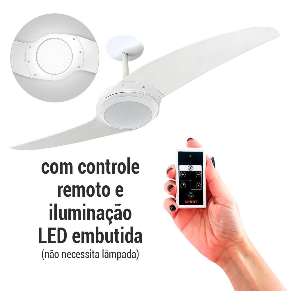 ventilador de teto Spirit - Blog Myspirit - Ventilador de Teto Spirit 203 Branco com LED embutido com Controle Remoto - ventilador de teto com controle remoto