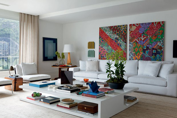 Luminária pendente Spirit Combine - quadros na sala de estar - como fazer uma decoração elegante