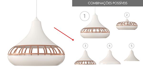 ventilador de teto Spirit - Blog Myspirit - Luminária Pendente SPIRIT Combine 1420 Branco/Bronze/Branco - luminária pendente Spirit Combine - dicas simples de decoração