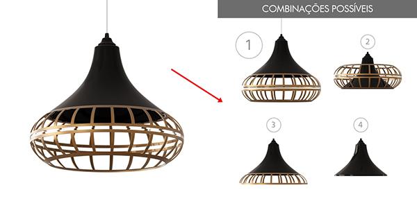ventilador de teto Spirit - Blog Myspirit - Luminária Pendente Spirit Combine 1440 Preta/Ouro/Ouro - luminária pendente Spirit Combine - dicas simples de decoração