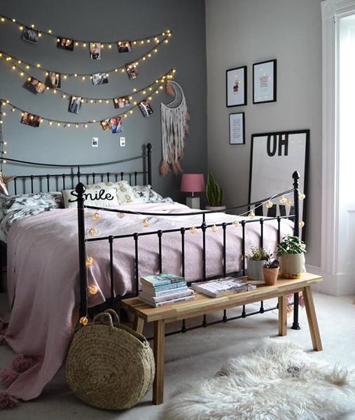 ventilador de teto Spirit - Blog Myspirit - quarto decorado com pisca-pisca - dicas simples de decoração