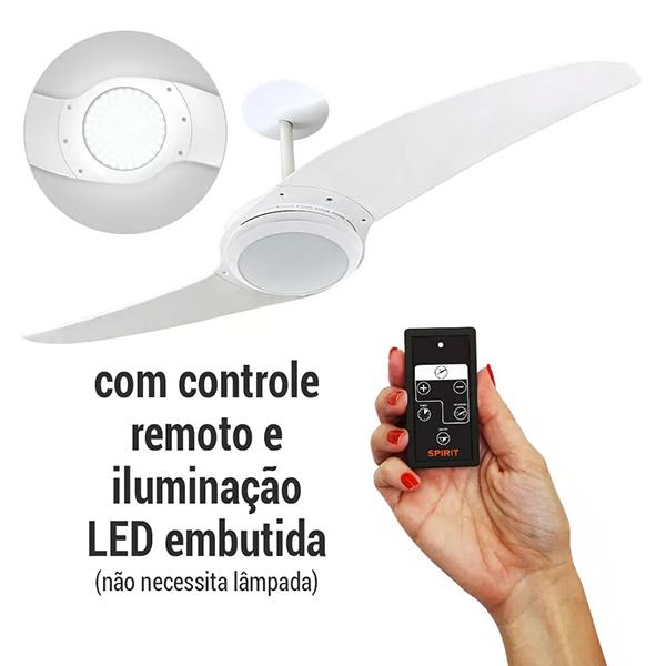 ventilador de teto Spirit - Blog Myspirit - Ventilador de Teto Spirit 203 Branco com LED embutido com Controle Remoto - ventilador de teto com luminária