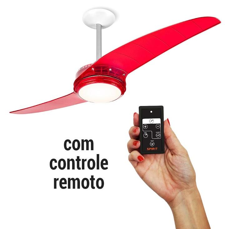 Ventilador de Teto Spirit 203 Vermelho Lustre Flat Com Controle Remoto