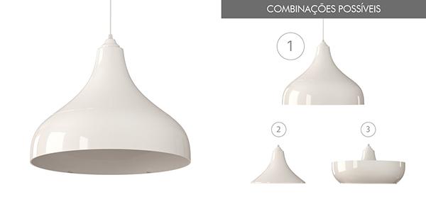 Ventiladores e luminárias Spirit - Blog Myspirit - Luminária Pendente Spirit Combine 1300 Branca - luminária pendente Combine - Luminária pendente branca
