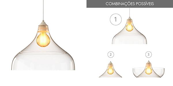 Ventiladores e luminárias Spirit - Blog Myspirit - Luminária Pendente Spirit Combine 1300 Transparente