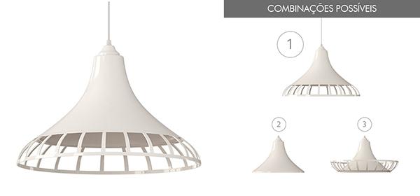 Ventiladores e luminárias Spirit - Blog Myspirit - luminária pendente Combine - luminária pendente branca