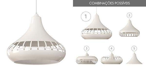 Ventiladores e luminárias spirit - Blog Myspirit - Luminária Pendente Spirit Combine 1420 Branca - luminária pendente Combine - luminária pendente branca