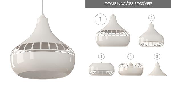 Ventiladores e luminárias Spirit - Blog Myspirit - Luminária Pendente Spirit Combine 1430 Branca - luminária pendente Combine - luminária pendente branca