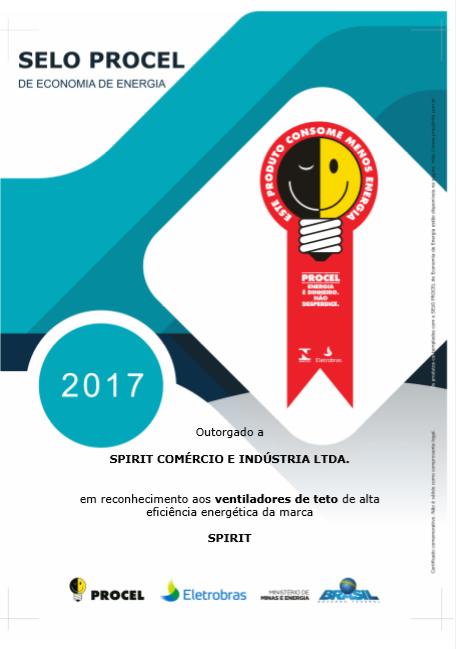 Ventiladores e luminárias Spirit - Blog Myspirit - certificado Procel 2017