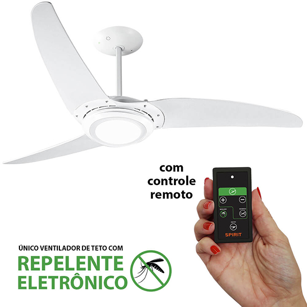 Ventiladores e luminárias Spirit - Blog Myspirit - Ventilador de Teto Spirit 303 Branco LED Repelente Controle Remoto - ventilador de teto silencioso para dormir