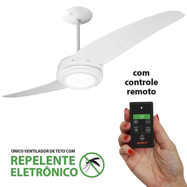 Ventiladores e luminárias Spirit - Blog Myspirit - Ventilador de Teto Spirit 203 Branco LED Repelente Controle Remoto - ventilador de teto silencioso para dormir