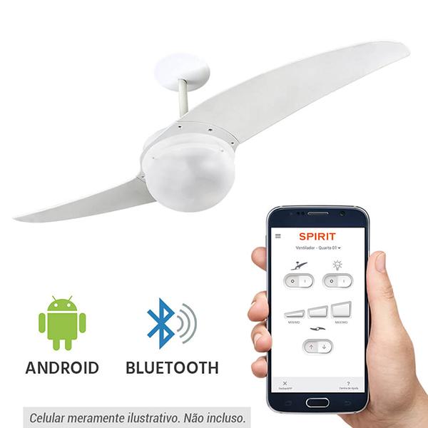 Ventiladores e luminárias Spirit - Blog Myspirit - Ventilador de Teto Spirit 202 Branco Bluetooth Controlado por Aplicativo - ventilador de teto silencioso para dormir