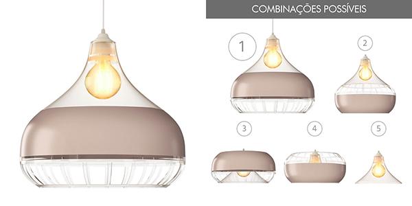 Ventiladores e luminárias Spirit - Blog Myspirit - Luminaria Pendente Spirit Combine 1340 Transparente/Champanhe/Transparente - altura ideal para luminária pendente