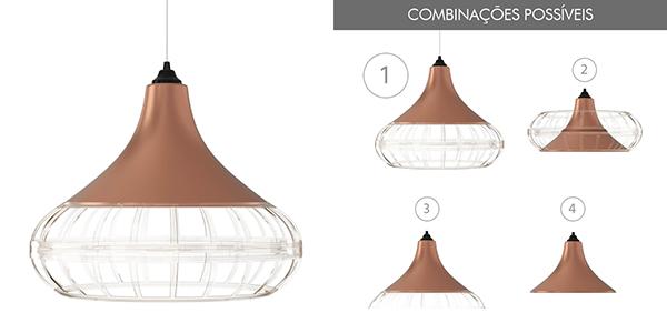 Ventiladores e luminárias Spirit - Blog Myspirit - Luminária Pendente Spirit Combine 1440 Bronze/Transparente/Transparente - luminárias pendentes para sala de jantar