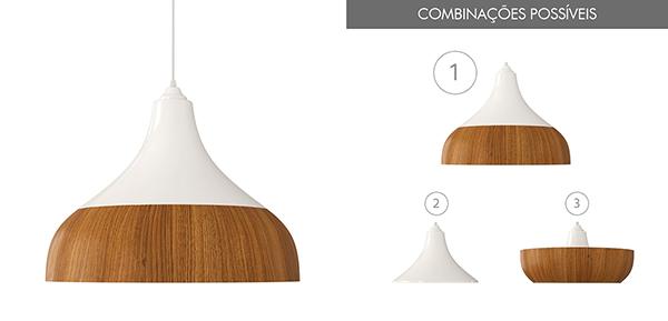 Ventiladores e luminárias Spirit - Blog Myspirit - Luminária Pendente Spirit Combine 1300 Branca/Caramelo - luminárias pendentes para sala de jantar