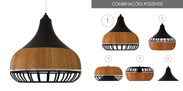 Ventiladores e luminárias Spirit - Blog Myspirit - Luminária Pendente Spirit Combine 1340 Preta/Caramelo/Preta - luminárias pendentes para sala de jantar