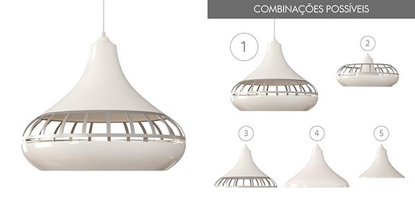 Ventiladores e luminárias Spirit - Blog Myspirit - Luminária Pendente Spirit Combine 1420 Branca/Prata/Branca - luminária de teto