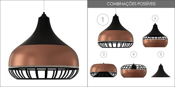 Ventiladores e luminárias Spirit - Blog Myspirit - Luminária Pendente Spirit Combine 1340 Preta Bronze Preta - como limpar luminária pendente Combine - como limpar luminária pendente