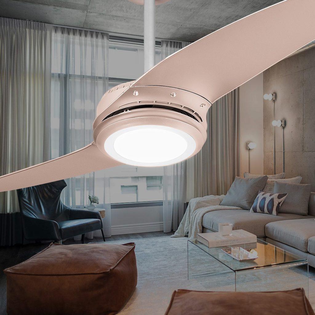 Tons de metalizado: Ventilador de Teto SPIRIT Wind 203 LED Titanium Campanhe